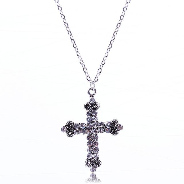 Vintage Long Cross Pendant Necklace