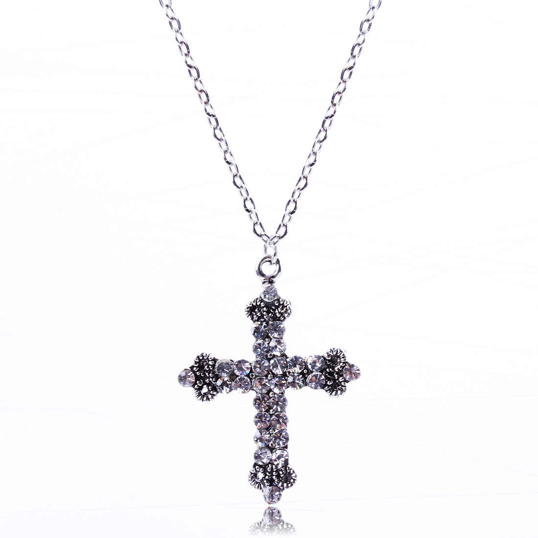 New Simple Crosses Retro Vintage Cross Necklace Women Crystal Long Necklaces Bijoux Religious Jewelry Collares Largos Christian