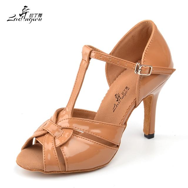 Ladingwu Light Brown PU Women's High Heel Shoes Soft Bottom Samba Tango Ballroom Salsa Latin Dance Shoes Heel 6/7.5/8.5/10cm