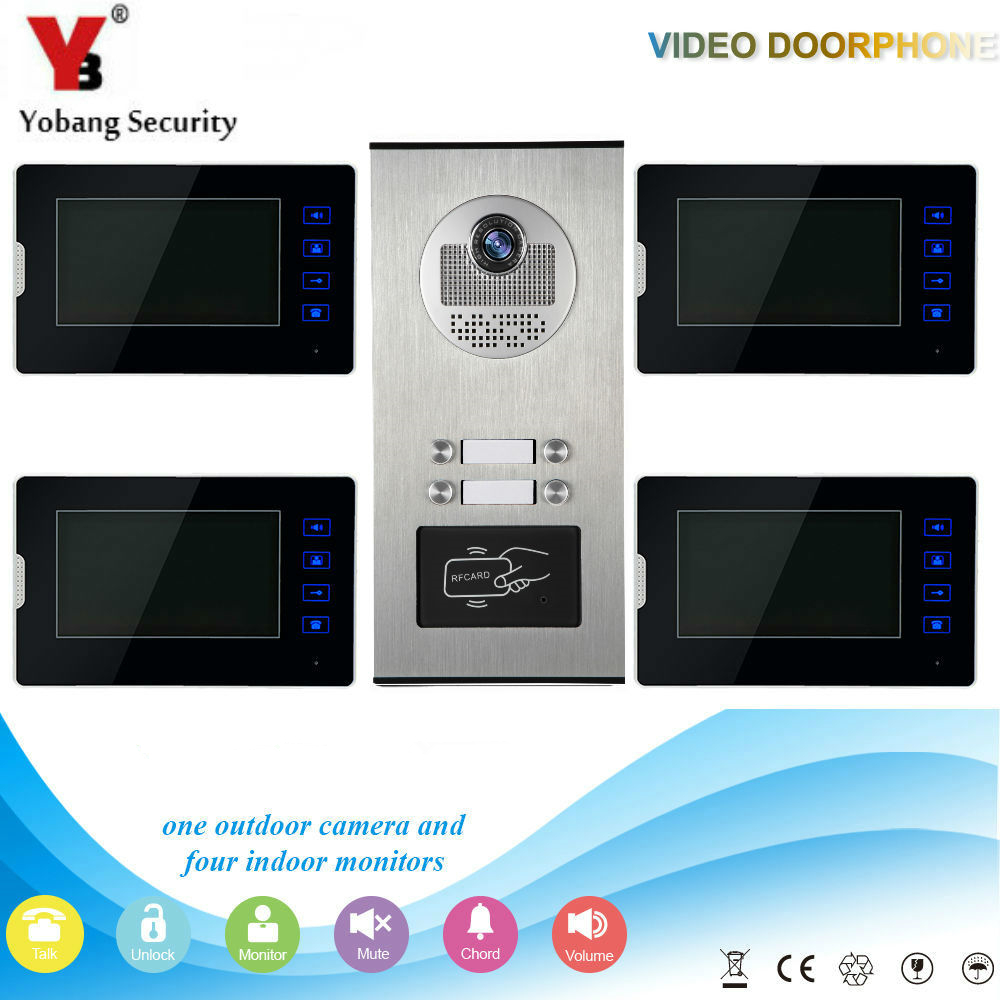 Yobang Security 7 LCD Video Door Phone Video Intercom Doorbell Home Security IR Camera 4 Monitor With Night Vision Videoportero hot sale tft monitor lcd color 7 inch video door phone doorbell home security door intercom with night vision