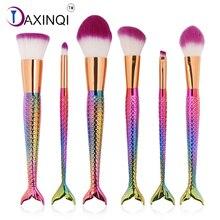 DAXINQI 6pcs mermaid makeup brush set fishtail brush powder foundation blush blending eyeshadow fish scales surface cosmetic kit