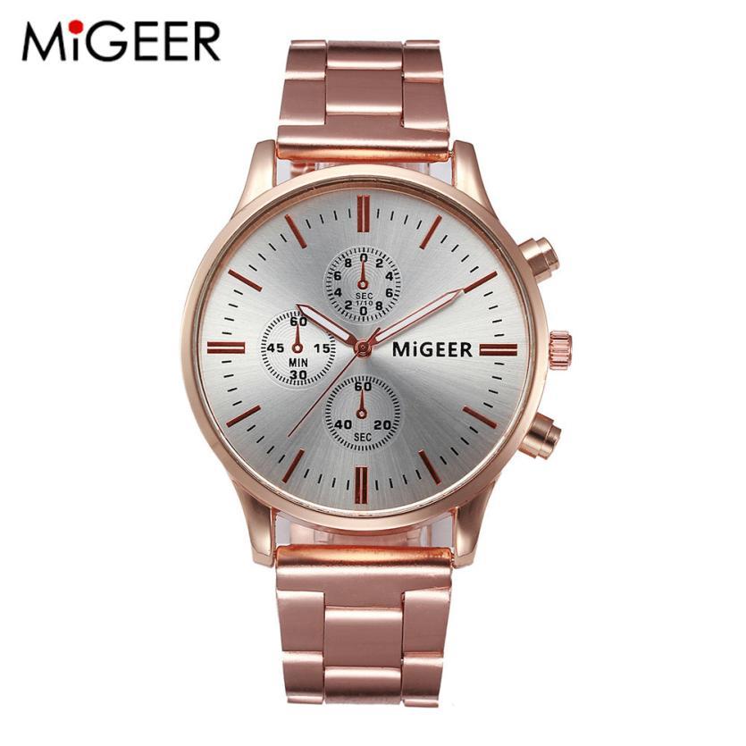 MIGEER Fashion Women Crystal Stainless Steel Analog Quartz Wrist Watch BraceleBracelet relogio feminino montre femme saat J7052 недорого