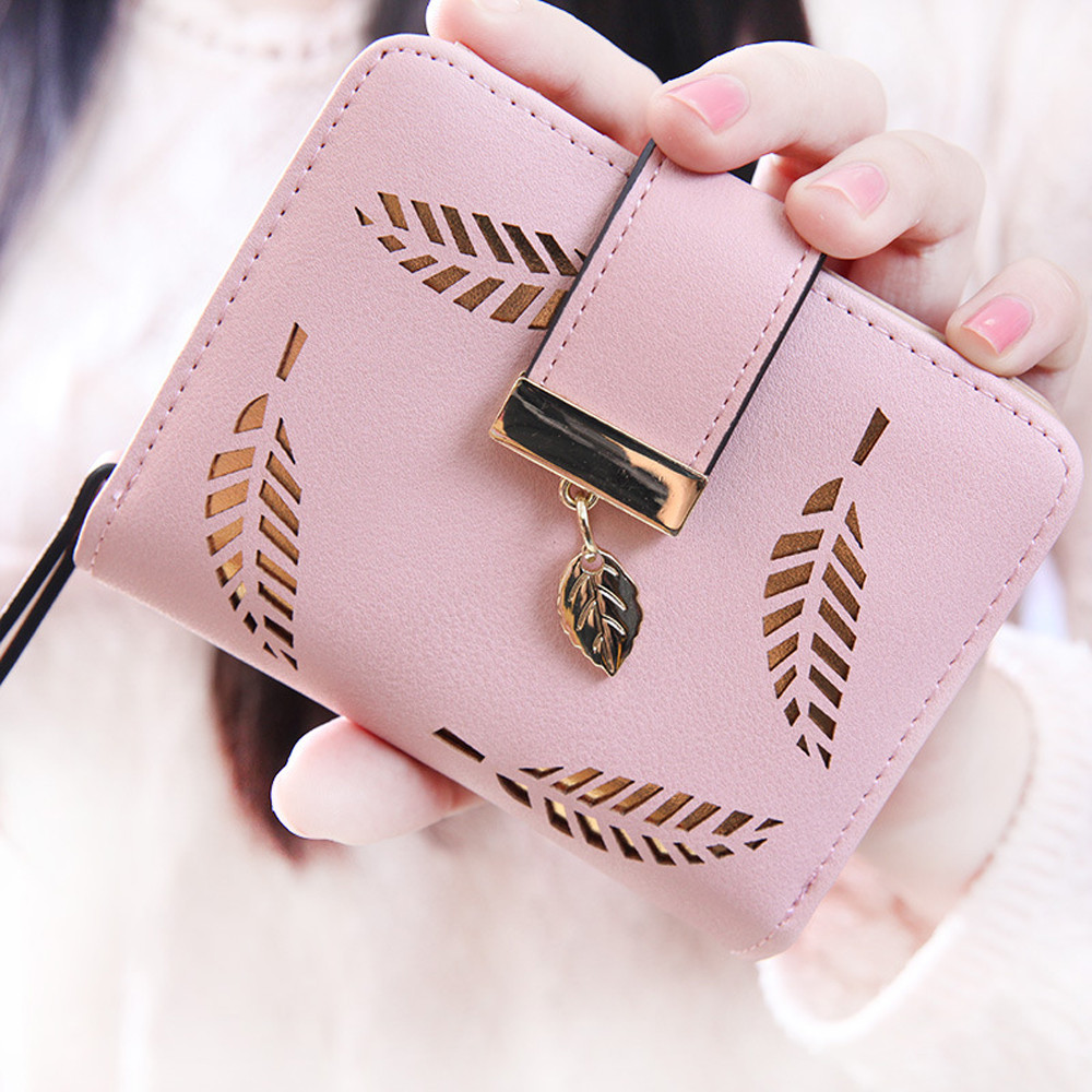 Short Wallet Purse Card-Holder Zipper Ladies Hollow Buckle Cartera Mujer New
