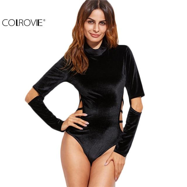 COLROVIE Romper Bodysuit Manga Longa Mulheres Moda Coreana Mulheres Top Preto Cowl Neck Com Tiras Recorte de Veludo Bodysuit