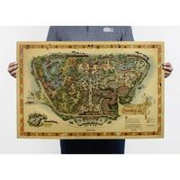 Free shipping,Hand drawing /Disneyland map /Nostalgia photo/kraft paper/bar poster/Retro Poster/decorative painting 72x48cm