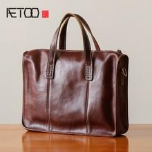 AETOO Handmade handbag male leather retro business casual single shoulder Baotou layer cowhide men's briefcase цена