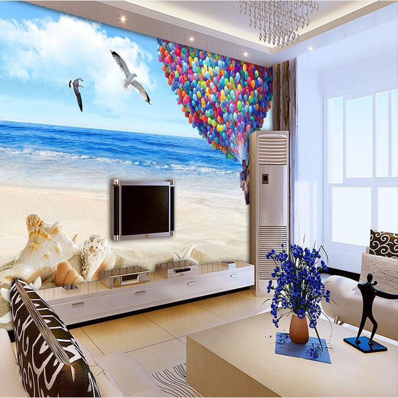 Custom Photo Wallpaper 3D Wall Murals Balloon Shell Seagull Wallpapers Landscape Murals Wall Paper for Living Room 3D Wall Mural sea world 3d wallpaper murals for living room bedroom photo print wallpapers 3 d wall paper papier modern wall coverings