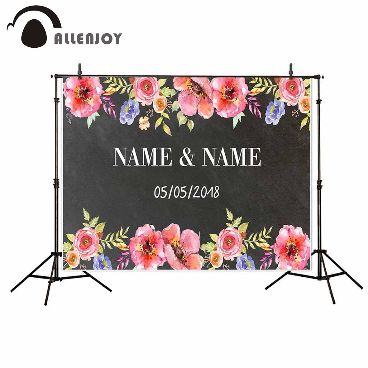 Allenjoy photography backdrop flower custom wedding chalkboard background photocall photo studio for a photo shoot professional