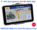 Gps 7 de polegada de 800 mhz 256 MB 8 GB bluetooth av in wince 6.0 touch screen mp3 mp4 transmissor FM rússia ucrânia belarus cazaquistão