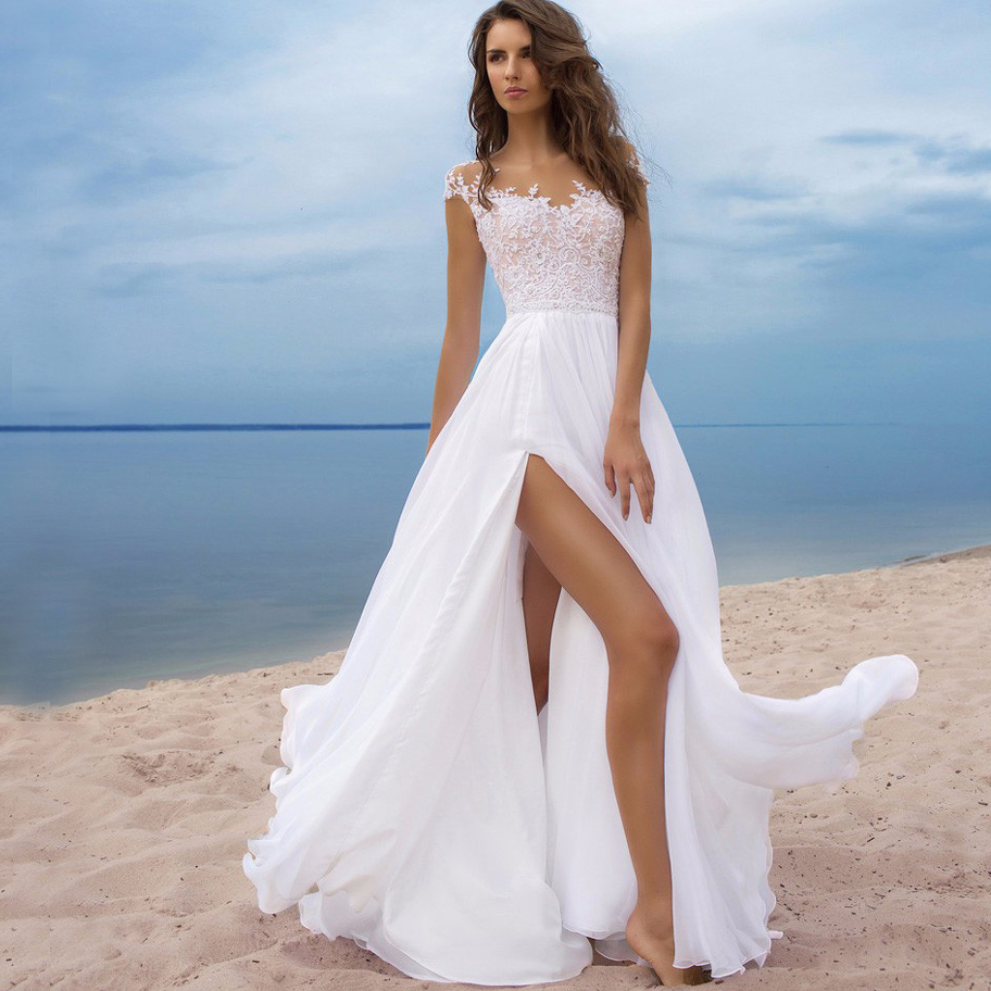 Sexy Scoop Appliqued Boho Wedding Dress Chiffon Bridal Gown Custom Made High Split Cheap Vestido De Novia