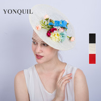 2017 Fashion Women formal occasion top hat silk flower fascinator hats hair clips lace fascinator bridal hair accessories SYF223