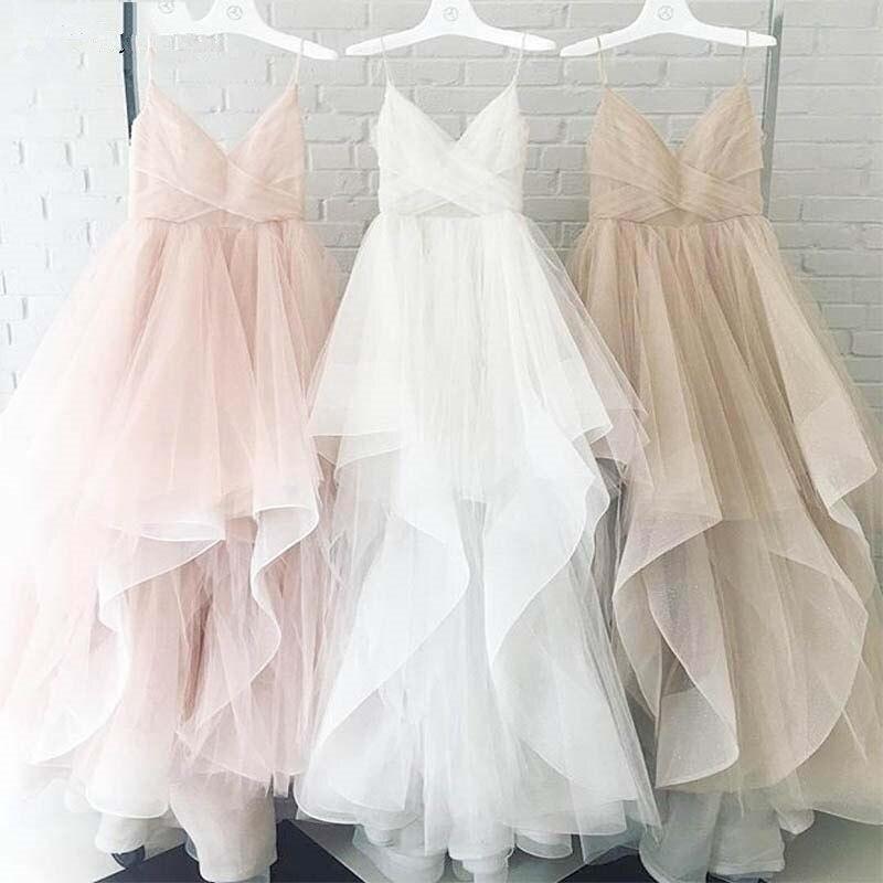 Asymmetrical Evening Dresses Spaghetti Strap Tulle Sleeveless Robe De Soiree Women Party Gowns Prom Dresses 2019