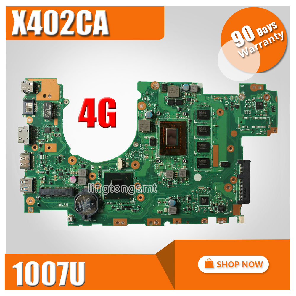 for ASUS X502CA Motherboard X402CA REV2.1 Mainboard 1007U 4G Memory on board 100% tested ytai 1007u processor for asus x200ca laptop motherboard hm70 usb3 0 rev 2 1 with 1007u 4g ram mainboard fully tested