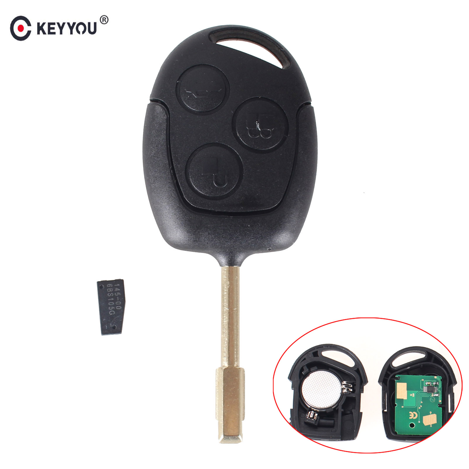 KEYYOU Remote Car Key 433MHz ID46 Chip for FORD Focus Fiesta Mondeo Fusion Transit KA 2001 <font><b>2002</b></font> 2003 2004 2005 2006 2007 2008 image