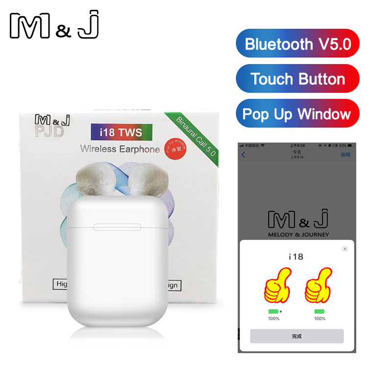 <font><b>i18</b></font> <font><b>TWS</b></font> Bluetooth 5.0 <font><b>Earphone</b></font> Wireless Headphone Touch control Headset 3D Stereo Earbuds for i10 <font><b>tws</b></font> i12 Xiaomi i20 i30 i60 <font><b>tws</b></font> image