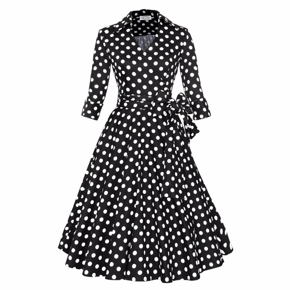 5b4c2c494cea Yacun Women's Vintage 1940's V Neck Bowknot Swing Casual Party Dress  Feminino Vestidos-in Dresses from Women's Clothing on Aliexpress.com |  Alibaba Group