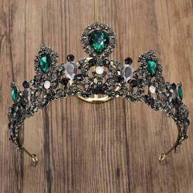 34 7 cm cristal Tiara de la boda para La novia verde Rhinestone princesa  corona e750f12cd77b