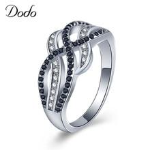 3d4584b58da1 DODO clásico negro blanco CZ anillo doble colores curva Anillos para  mujeres boda joyería Anel Bijoux Bague Anillos regalo dm096