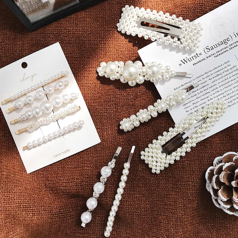 Korea Fashion Imitiation Pearl Hair Clip Barrettes for Women Girls Handmade Pearl Flowers Hairpins Hair Accessories