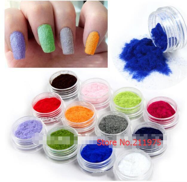 12 kleuren fluweel stroomden poeder set nail art decoratie polish - Nagel kunst - Foto 1