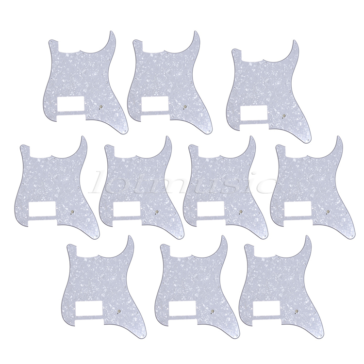 10 pcs White Pearl One Humbucker 3 ply 11 Hole Pickguard For Strat Replacement 4pcs new quality guitar pickguard sss yellow pearl 11 hole for electric strat replacement