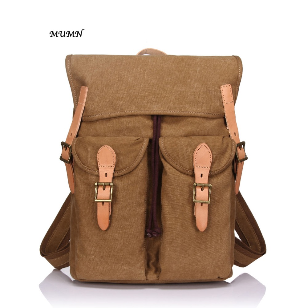 Canvas Backpack of Waterproof Canvas with Leather Cowhide Khaki Color  Casual Style 81967MUMN e2db1c5a5cbed