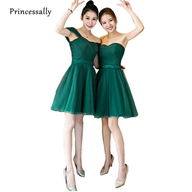 Vestido De Festa Cheap Emerald Green Bridesmaid Dresses Short Sweetheart Pleat  Simple Elegant Prom Party Gown 7879babf0367