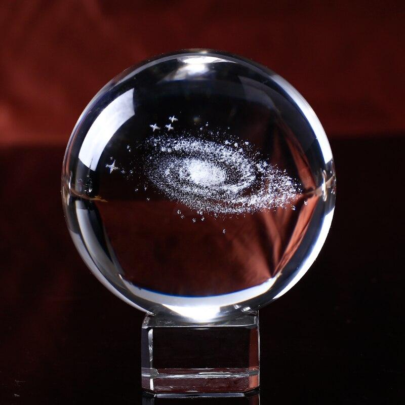 60/80mm de Diâmetro Globo Bola De Cristal Galáxia da Via Láctea Miniaturas 3D Gravado A Laser Bola Esfera De Vidro Decoração de Casa presentes Via Lactea