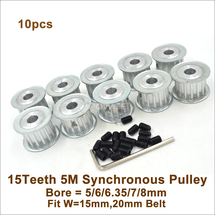 POWGE 10pcs 15 Teeth 5M Synchronous Pulley Bore 5 6 6 35 8mm Fit Width 15