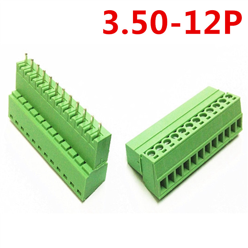10sets 12Pin PCB Electrical Plug type 15EDG-3.5mm Universal Straight Screw Green Terminal Block Connector pin header and socket