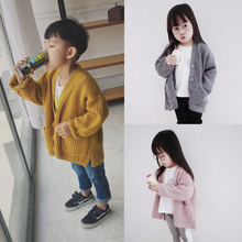 Autumn Boys Girls Sweater Cotton Cardigans Toddler Jumper Knitwear Childrens Long-Sleeve V-Neck Kids Coat