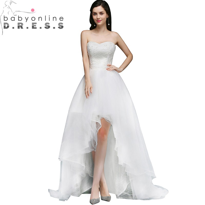 Robe Mariage Charming High Low Ruched Wedding Dress Sexy Lace Up Back Sleeveless Wedding Gown Sweetheart Appliques Wedding Dress