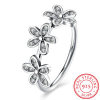 2017 New Design 100 925 Sterling Silver Three Daisy Flowers Finger Ring For Women Jewelry Gift