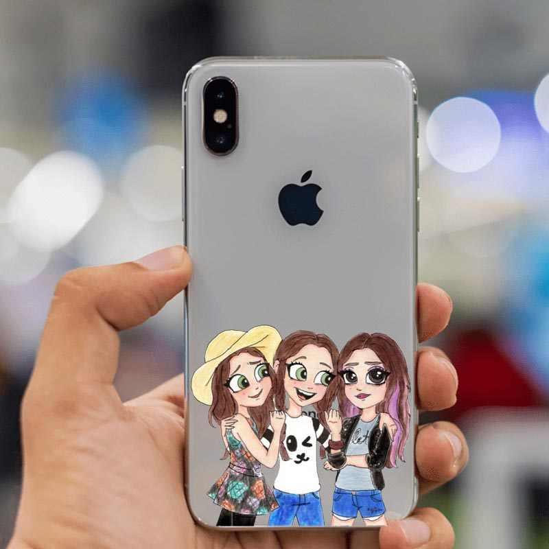 Étui pour téléphone en Silicone souple de luxe Unique BFF meilleurs amis girly étui pour iphone XS MAX XR 5 s SE 6 6plus 7 7plus 8 8plus X coque