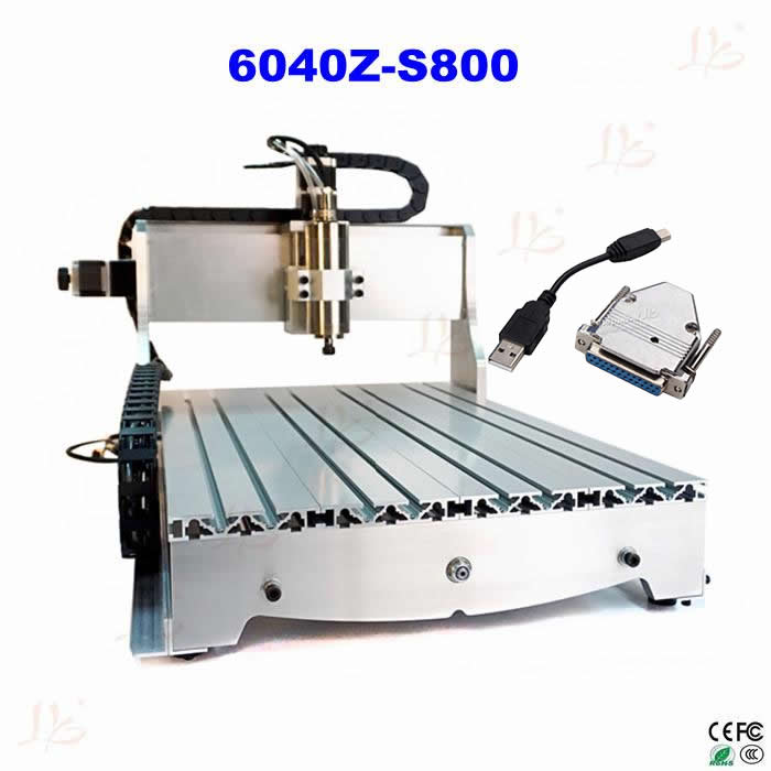 CNC 6040Z-S800 Router mini milling machine for metal, wood polywood with USB parallel port adapter eur free tax cnc router 4030z d300 3axis wood cnc milling machine for cutting wood acrylics mdf with usb parallel adapter