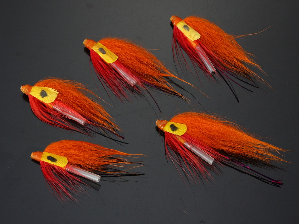 40 pcs tubo mosca moscas laranja salmao 04