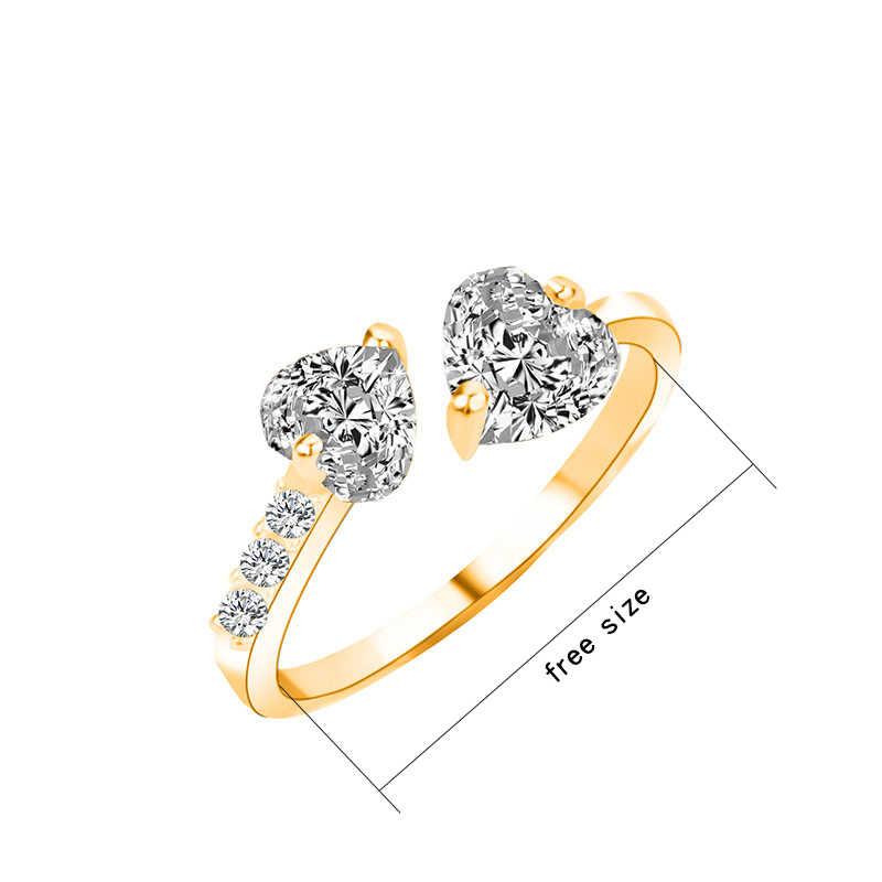 Bague réglable breloque strass amour anneaux Dainty Zircon coeur forme or argent métal doigt fairy bijoux fantaisie en gros