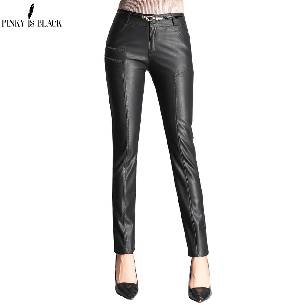 PinkyIsBlack 2019 Autumn Winter Women PU Leather   Pants   Zipper   Capris     Pants   Trousers Women High Waist Black Stretch Pencil   Pants
