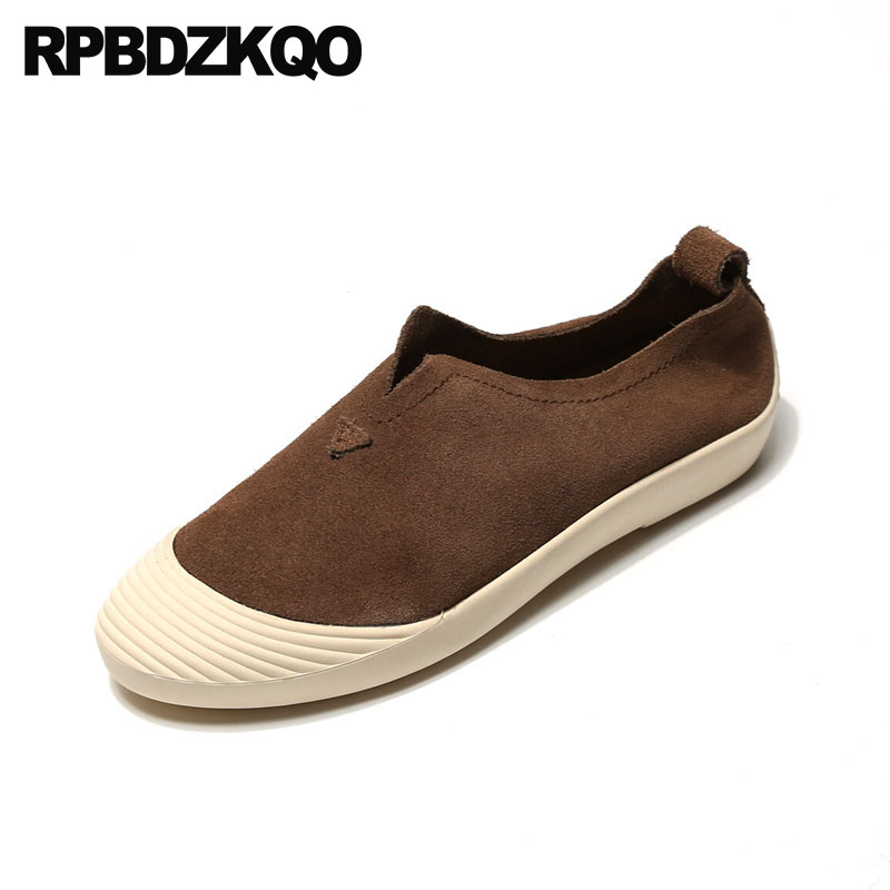 Flats Women Sneakers Round Toe Ladies China Walking Brown Yellow Factory Direct Trainers Slip On Chinese Suede Wide Fit Shoes round toe suede slip on plimsolls