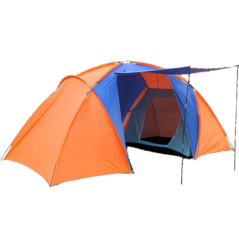 Новинка 2017 года стиль, высокое качество, большой туристическая палатка двойной слой с двумя спальнями Camp 4 человек большой палатка семья водонепроницаемый палатки