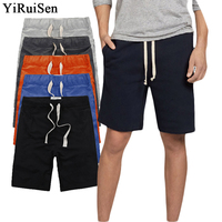 YIRUISEN Brand Clothing Casual Shorts Men Cotton Drawstring Solid Color Mid Short Pants Summer Male Shorts