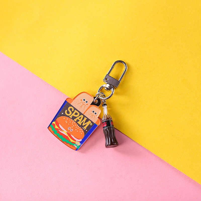Mini bonito resina simulação comida chaveiros sacos carro chaveiro burger keychains feminino chaveiro acessórios pequenos presentes pingente