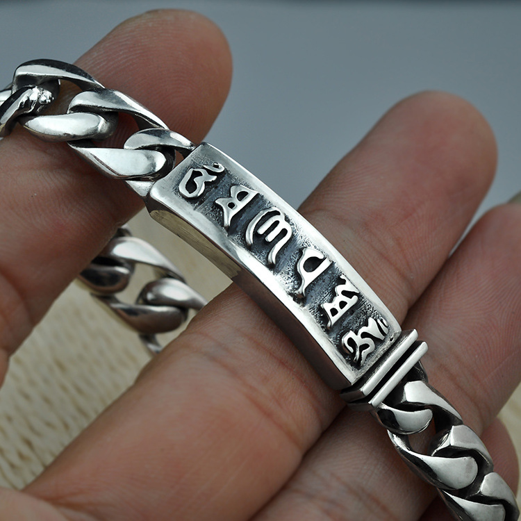 s925 Sterling Silver Bracelets For Women And Men Six Words Om Mani Padme Hum Engraved Buddhism Jewelry
