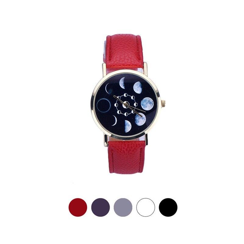 New style Women Fashion classic watch Lunar Eclipse Pattern Leather Analog Quartz Wrist Watch Dropshipping Free Shipping M27