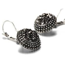 Vintage Black Crystal Flower Drop Earrings  For Women Indian Jewelry Gift