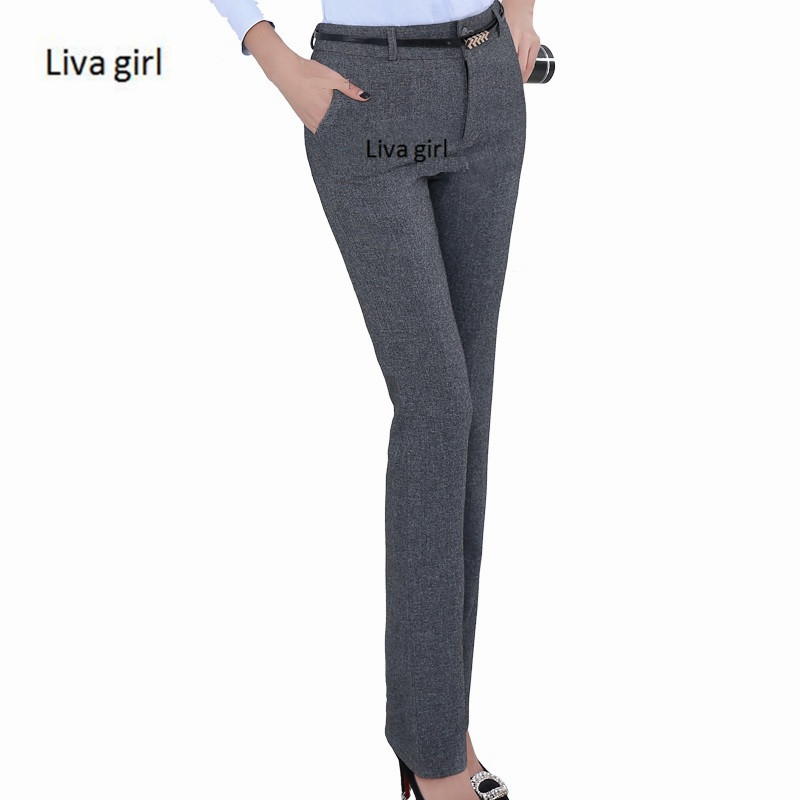 Brand Belt Loop Plus Size Formal Pants for Women Office Lady Style Work Wear Straight Trousers Female Clothing Business Design girl