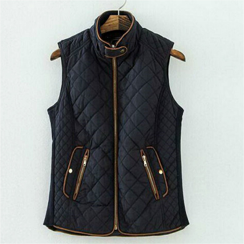 b790eee311128 2016 spring fashion brand female vest women padded sleeveless bomber jackets  vintage outwear casual coats women Plus size bx77