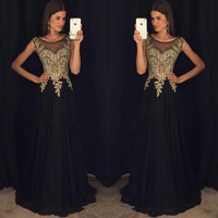 Black Gold Lace Long Evening Dresses Gowns 2017 Prom Dress Vestido de Gala Ballkleider Chiffon Scoop Imported Party Dress