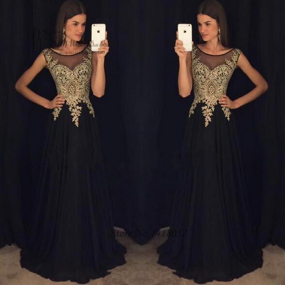 Black Gold Lace Long Evening Dresses Gowns 2017 Prom Dress