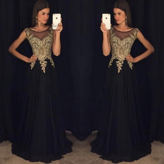 Black Gold Lace Long Evening Dresses Gowns 2017 Prom Dress Vestido ...